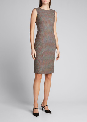 Kiton Gingham-Print Wool Sheath Dress