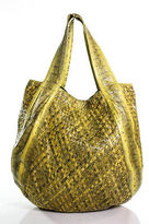 Beirn Yellow Leather Snakeskin Printed Medium Tote Handbag