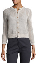 Theory Tamvi Netted Cardigan Sweater, Beige