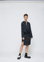 Junya Watanabe Green / Navy Long Sleeve Pleated Tie Neck Dress