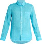 120% Lino 120 LINO Point-collar linen shirt