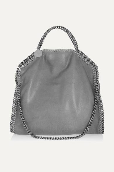 Stella McCartney The Falabella Medium Vegetarian Brushed-leather Shoulder Bag - Light gray
