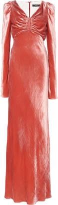 Ellery Ruched Crushed Velvet Maxi Dress