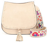 Steve Madden Selena Tasseled Saddle Bag with Floral-Embroidered Strap