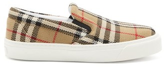 Burberry Thompson Vintage-check Jacquard Canvas Trainers - Beige Multi