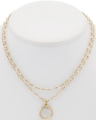 Rachel Reinhardt 14K Over Silver Moonstone & Chalcedony Necklace