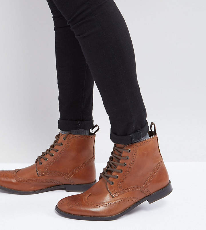 Asos Design Wide Fit Brogue Boots in Tan Leather