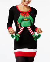 Hooked Up by Iot Juniors' 3-d Elf Feet Holiday Tunic Sweater
