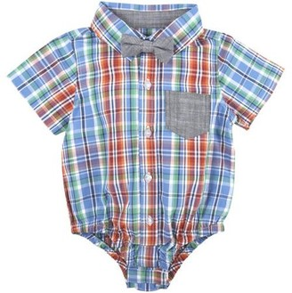 G Cutee Little Boys Blue and Orange Plaid Shirt with DetachableChambray Bowtie, Available in Size 4-7