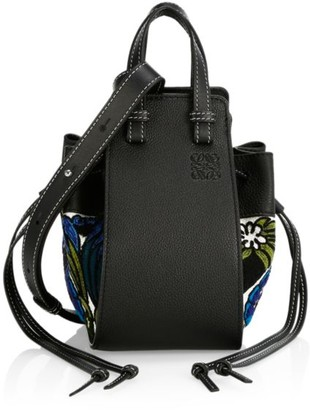 Loewe Mini Hammock Drawstring Floral-Print Leather Bag