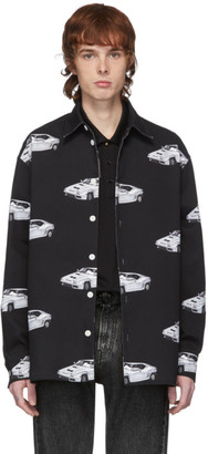 Versace Black Denim Race Car Shirt Jacket