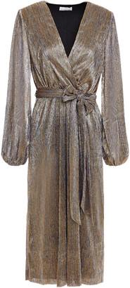 Rebecca Vallance Rivero Wrap-effect Metallic Mesh Midi Dress