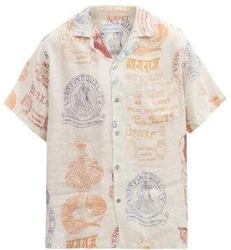 Desmond & Dempsey The Market Cuban-collar Linen Pyjama Shirt - Cream Multi