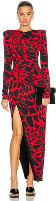 Alexandre Vauthier Giraffe Ruched Maxi Dress in Poppy & Black | FWRD