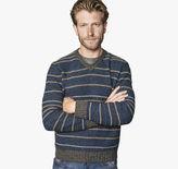 Johnston & Murphy Textured Stripe V-Neck Sweater