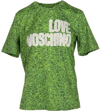 Love Moschino Grass Green Printed Cotton Women's T-Shirt w/Daisy Signature
