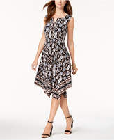 JM Collection Petite Printed Split-Neck Dress, Created for Macy's