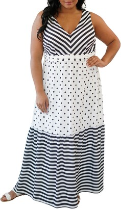 Maree Pour Toi Dot & Stripe Maxi Dress