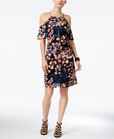 Thalia Sodi Printed Flutter-Sleeve Necklace Dress, Only at Macy's