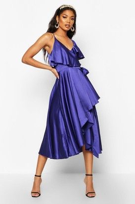 boohoo Satin Ruffle Wrap Detail Skater Dress