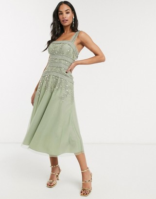 ASOS DESIGN midi skater dress with lace trim and delicate leaf embellishment