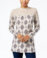 Style&Co. Style & Co. Lace-Trim Printed Top, Only at Macy's