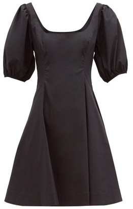 STAUD Laelia Balloon-sleeve Cotton-blend Poplin Dress - Black