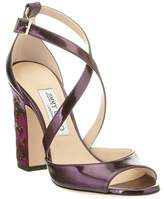 Jimmy Choo Carrie 100 Strappy Heeled Metallic Leather Sandal.