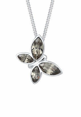 Elli Women's 925 Sterling Silver Xilion Cut Crystal Butterfly Pendant Necklace Length of 45 cm