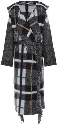 Stella McCartney Oversized Fringe-trimmed Checked Wool-blend Coat