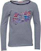 Board Angels Girls Striped Long Sleeve Top Navy/White