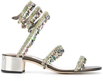 Rene Caovilla Crystal-Embellished Spiral Sandals