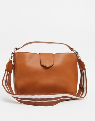 My Accessories London cross body bucket bag in tan with webbing straps