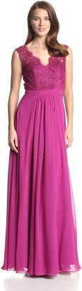JS Boutique Women's Lace Bodice Gown with Long Chiffon Skirt