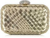 Forzieri Woven Leather Clutch w/Crystals Closure