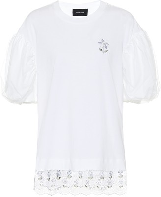 Simone Rocha Embroidered cotton-jersey top
