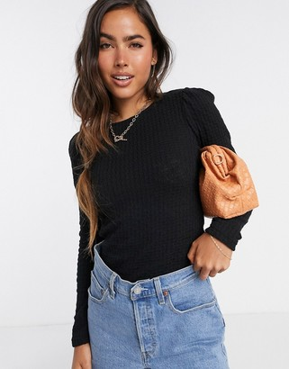 Vero Moda textured top with puff sleeves in black