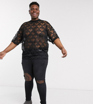 ASOS DESIGN Plus oversized t-shirt with half sleeve in black lace