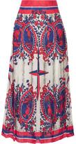 Gucci Pleated Printed Jacquard Midi Skirt - Ivory