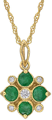 Rina Limor Fine Jewelry 14K 0.42 Ct. Tw. Diamond & Emerald Pendant Necklace