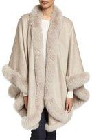 Bergdorf Goodman Cashmere Fox Fur-Trim Cape, Stone
