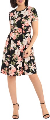 Maggy London Blossom Floral Short Sleeve Pleated Skirt Dress