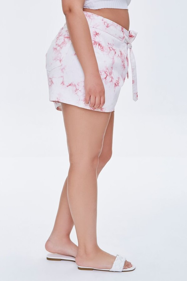 Thumbnail for your product : Forever 21 Plus Size Belted Tie-Dye Shorts