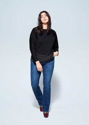 MANGO Violeta BY Contrasting printed sweatshirt black - S - Plus sizes