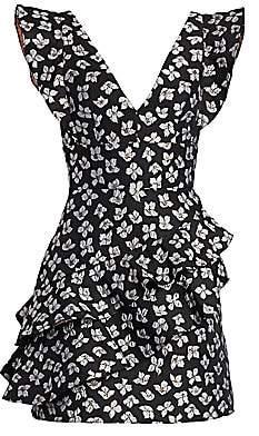 ML Monique Lhuillier Women's Floral Ruffled Jacquard A-Line Dress