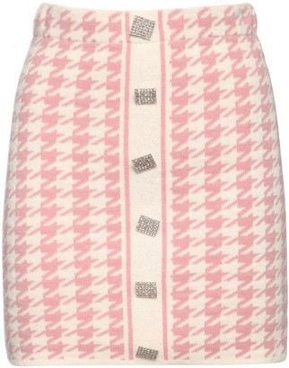 Giuseppe di Morabito Wool Knit Houndstooth Mini Skirt