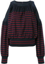 Sacai cold shoulder knitted top - women - Cotton/Polyester/Cashmere - 4