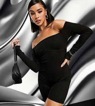 AsYou bardot rib unitard with underboob detail in black