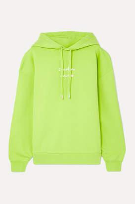Acne Studios Fyola Neon Printed Cotton-jersey Hoodie - Bright green