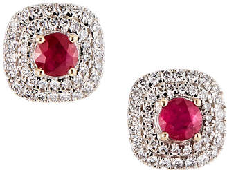 Estate Jewelry Estate 18K White Gold Diamond Ruby Earrings